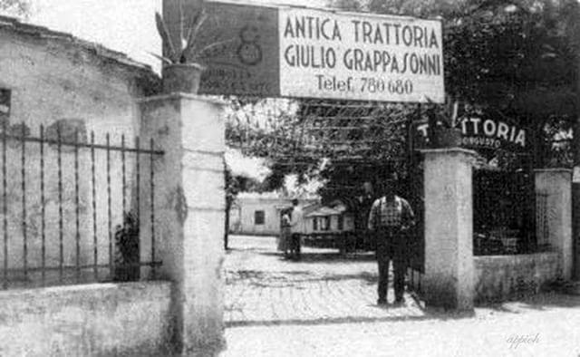 Trattoria Grappasonni, via dell'Almone angolo via Appia Nuova Anno: Anni '50.