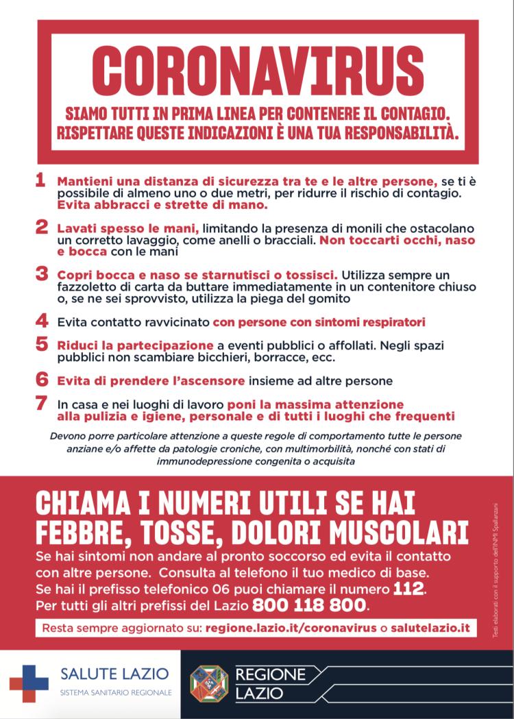 Coronavirus: Regione Lazio, campagna informazione per contenere il #coronavirus
